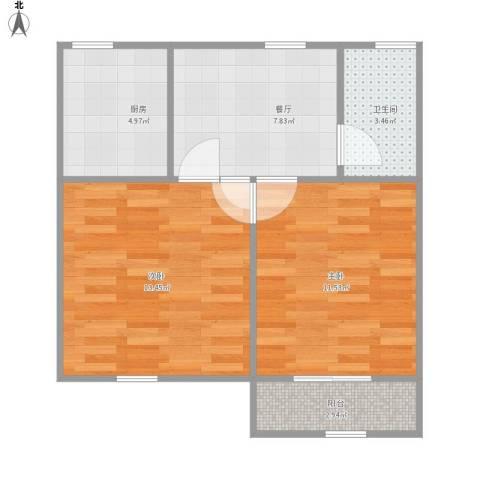 迎园新村十一坊2室1厅1卫1厨60.00㎡户型图