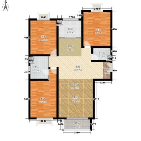 东方文苑3室1厅2卫1厨134.00㎡户型图