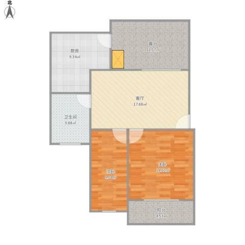 298102嘉业阳光水韵2室1厅1卫1厨96.00㎡户型图