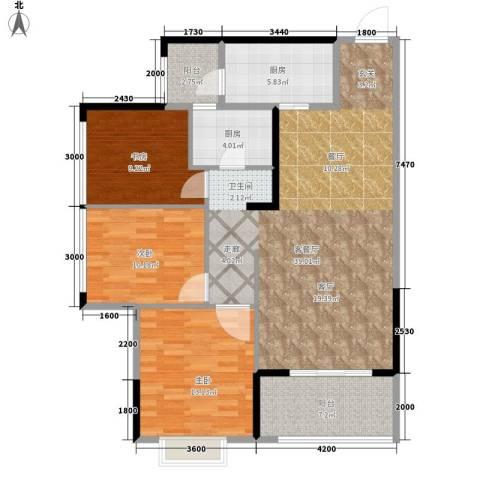 坤元・水木清华3室1厅0卫2厨127.00㎡户型图