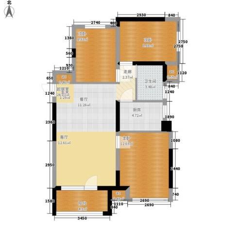 水映加州依云郡3室0厅1卫1厨93.00㎡户型图