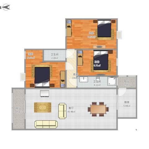 华林东盛花园二期3室1厅2卫1厨126.00㎡户型图