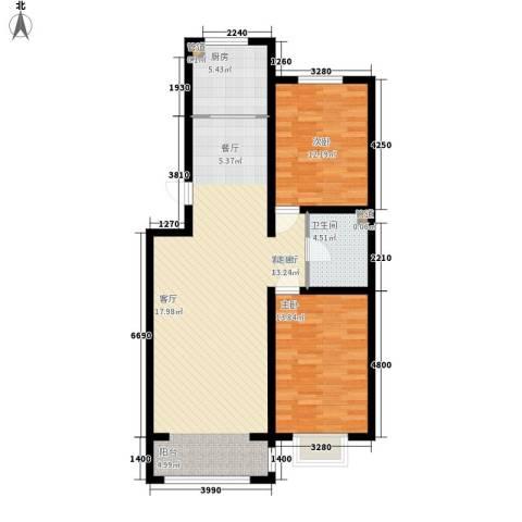 紫云瑞峰2室1厅1卫1厨110.00㎡户型图