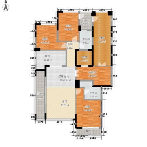 绿城翡翠湖玫瑰园3室0厅2卫1厨160.00㎡户型图