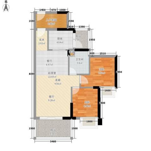 荔富湖畔2室0厅1卫1厨78.00㎡户型图