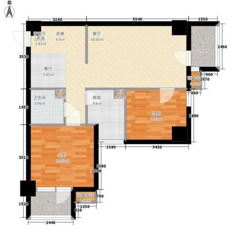 天骄花园2室1厅1卫1厨93.00㎡户型图