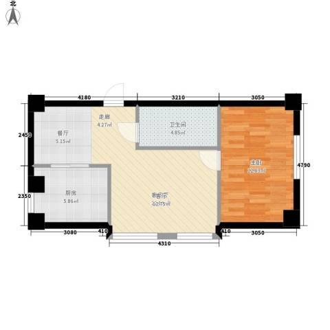 天骄花园1室1厅1卫1厨82.00㎡户型图