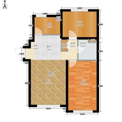 青橙部落2室1厅1卫1厨93.00㎡户型图