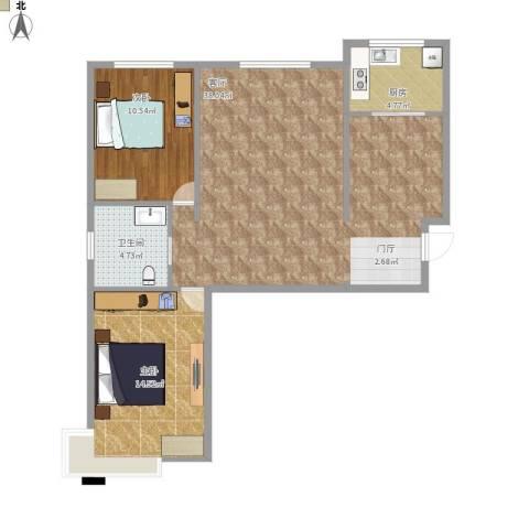 华北星城2室1厅1卫1厨99.00㎡户型图