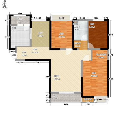 中海紫御东郡3室1厅1卫1厨114.00㎡户型图
