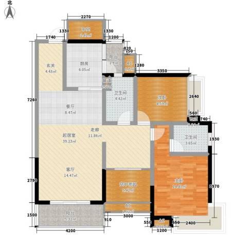 荔富湖畔2室0厅2卫1厨116.00㎡户型图