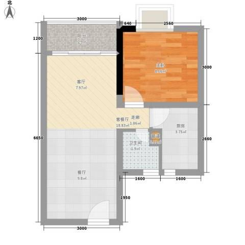 皇冠国际公寓1室1厅1卫1厨54.00㎡户型图