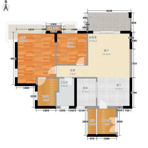 东方豪苑2室0厅2卫1厨88.00㎡户型图
