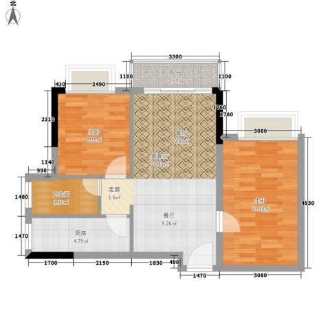 皇冠国际公寓2室1厅1卫1厨79.00㎡户型图
