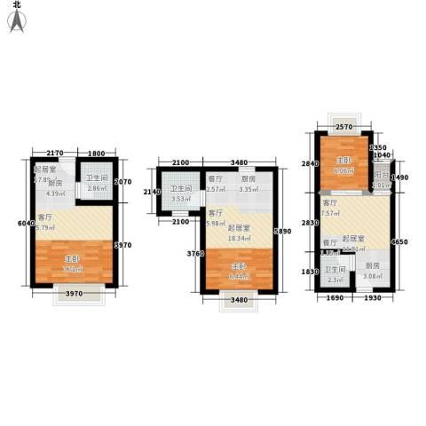 一米阳光美好家园1室0厅3卫0厨93.00㎡户型图