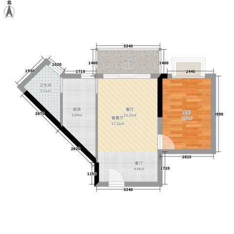 皇冠国际公寓1室1厅1卫1厨55.00㎡户型图