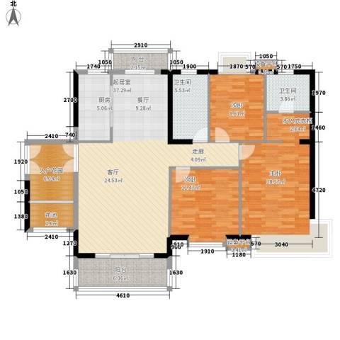 东方豪苑3室0厅2卫1厨122.00㎡户型图