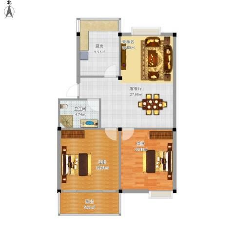 繁裕二村2室1厅1卫1厨105.00㎡户型图