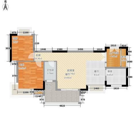 东方豪苑2室0厅1卫1厨89.00㎡户型图