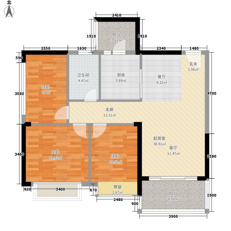 南昌恒大城93.00㎡11、12号楼3单元3号3室户型