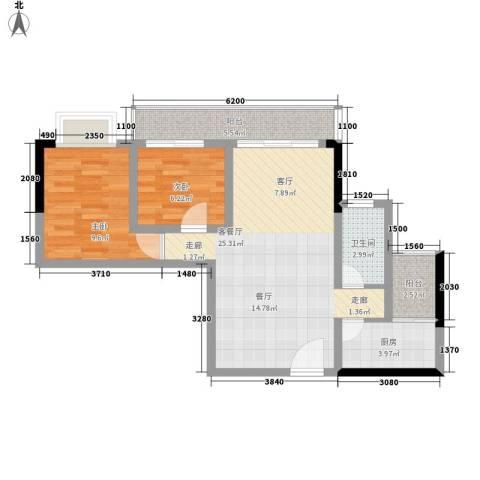 皇冠国际公寓2室1厅1卫1厨80.00㎡户型图