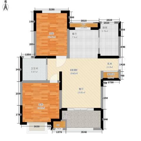 中星馨恒苑2室0厅1卫1厨90.00㎡户型图