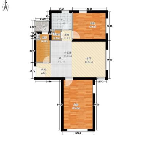 青橙部落2室1厅1卫1厨86.00㎡户型图