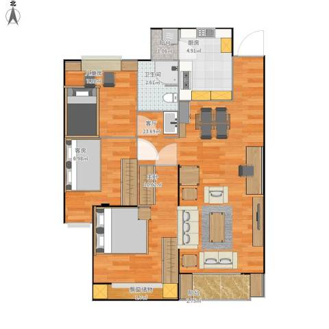 朗诗未来树2室1厅1卫1厨79.00㎡户型图