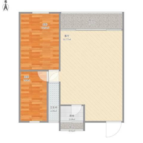 风和日丽二期2室1厅1卫1厨86.00㎡户型图