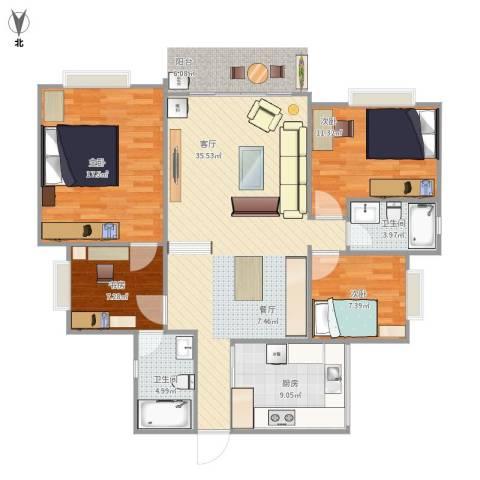 美心翠拥华庭4室1厅2卫1厨130.00㎡户型图