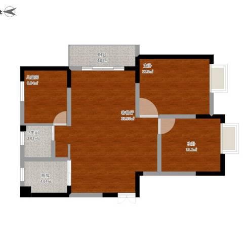 米兰阳光花苑3室1厅1卫1厨113.00㎡户型图