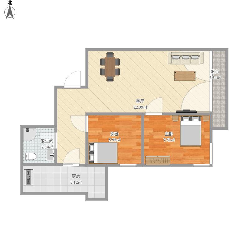 80平户型两室两厅