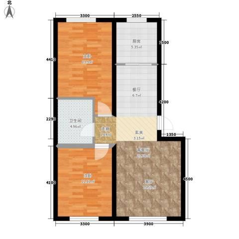 盈胜幸福里2室1厅1卫1厨90.00㎡户型图