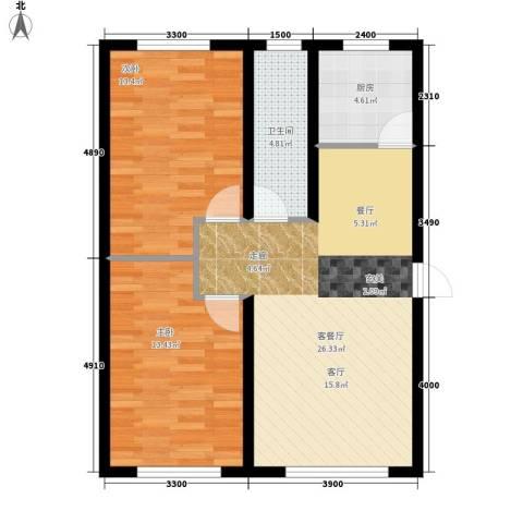 盈胜幸福里2室1厅1卫1厨88.00㎡户型图