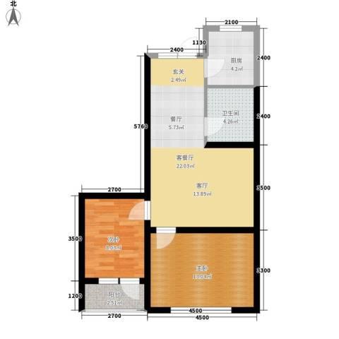 盈胜幸福里2室1厅1卫1厨78.00㎡户型图