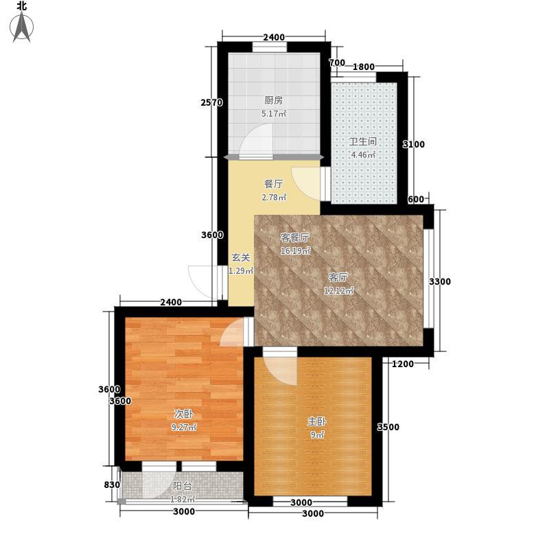 盈胜幸福里2室2厅1卫1厨66.44㎡户型2室2厅1卫