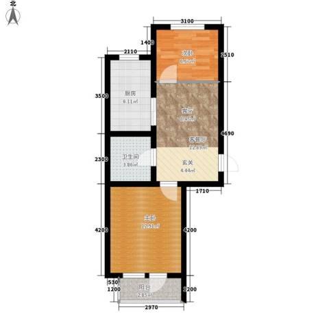 盈胜幸福里2室1厅1卫1厨66.00㎡户型图