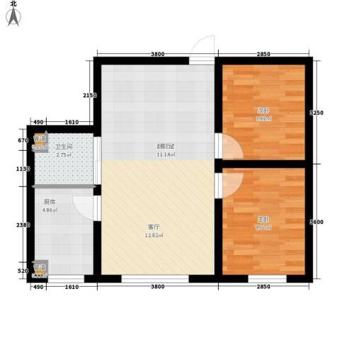 万龙名城2室0厅1卫1厨69.00㎡户型图