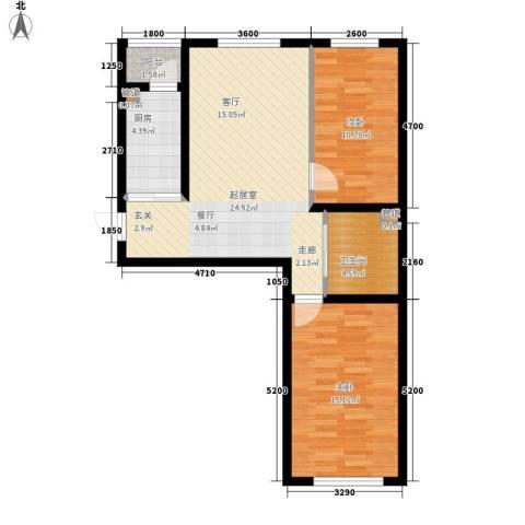 万龙名城2室0厅1卫1厨88.00㎡户型图