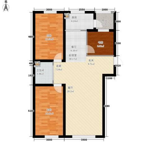 万龙名城3室0厅1卫1厨115.00㎡户型图