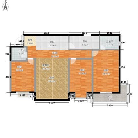 龙洲新城3室1厅2卫1厨194.00㎡户型图