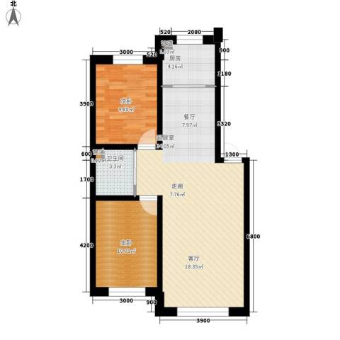 万龙名城2室0厅1卫1厨90.00㎡户型图