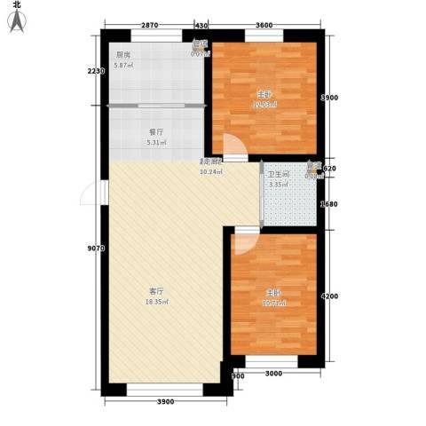 万龙名城2室0厅1卫1厨94.00㎡户型图