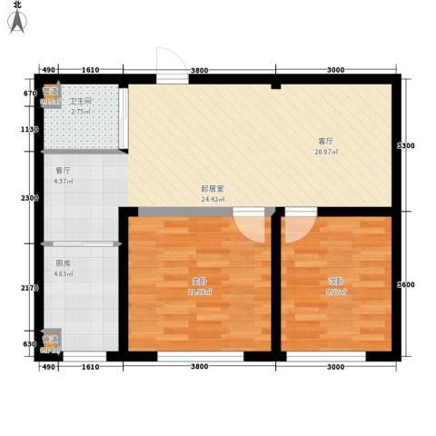 万龙名城2室0厅1卫1厨77.00㎡户型图