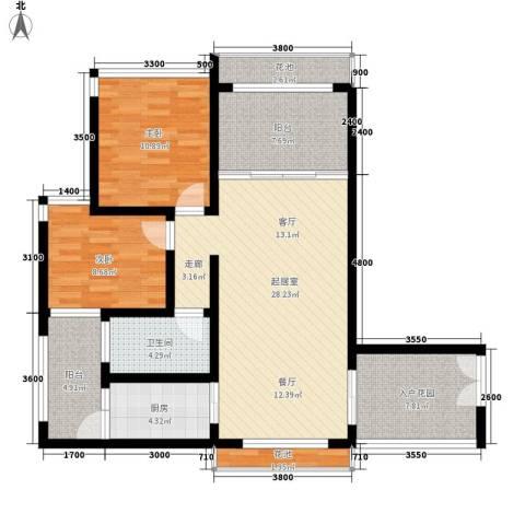 天山丽田2室0厅1卫1厨93.00㎡户型图