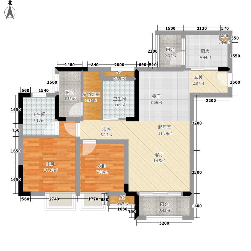 海悦府96.00㎡一期8、9号楼3、6号房户型2室2厅