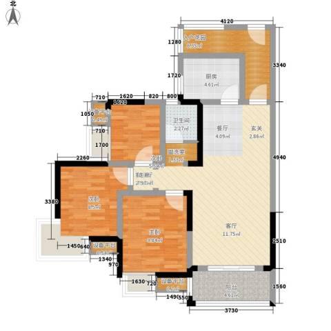 高鑫巴比伦花园3室1厅1卫1厨106.00㎡户型图