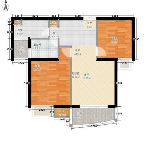 天赐良园2室0厅1卫1厨65.00㎡户型图