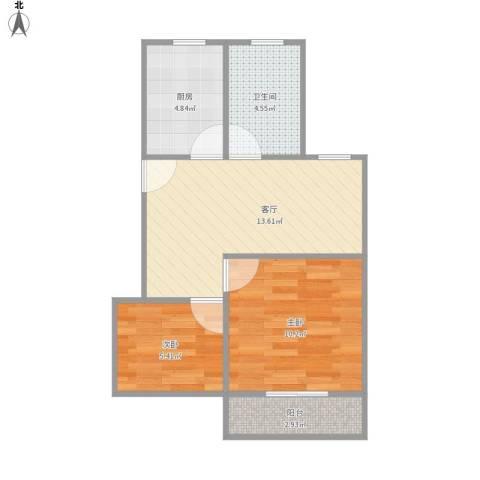 罗南二村2室1厅1卫1厨57.00㎡户型图