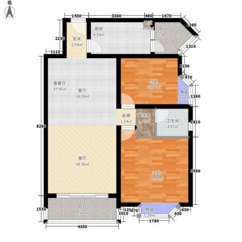 恒康丽景2室1厅1卫1厨83.51㎡户型图